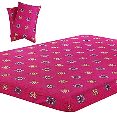 Vaulia Lightweight Microfiber Sheets, Printed Pattern Design, Bright Pink Full Size, 3-Piece Set (1 Fitted Sheet, 2 Pillowcases)