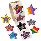 Kicko Star Stickers - 4 Rolls - 1.5 Inches - 400 Assorted Colors And Funky Designs Star Shape Stickers - For Kids Great Party Favors, Fun, Gifts, Prizes, Teachers, Tutors, Class Rewards