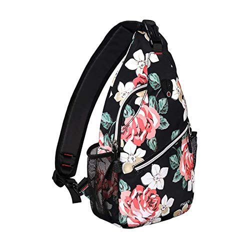 MOSISO Sling Backpack,Travel Hiking Daypack Rose Rope Crossbody Shoulder Bag, Black
