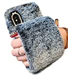 UnnFiko Plush Glove Case Compatible with iPhone 6 / iPhone 6s, Fashion Diamond Bling Cute Fuzzy Furry Fluffy Rabbit Fur Soft TPU Back Case with Warm Hand Strap (Gloves Gray, iPhone 6 / 6s)