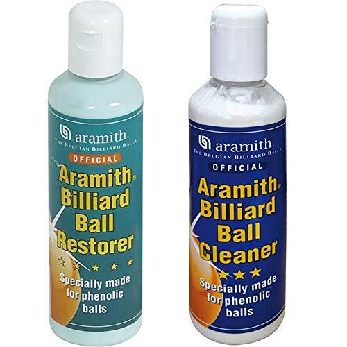 Aramith Billiard Ball Restore Abbinato Billiard Ball Cleaner, Coppia detergenti liquidi per bilie fenoliche per Biliardo. Flaconi da 250ml.