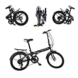 Folding Bikes for Adults 20' Lightweight,Wouke 7 Speed Mini Folding Bike with V Brake High Tensile Steel Folding Bike Mini Bicycle Compact Bikes for Students,Men and Women Commuting to Work (Black)