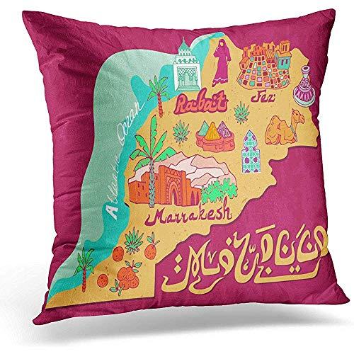 Niet toepasbare kussenslopen, oude toerniskaart van Marokko, reizen en attracties Afrika decoratieve kussenslopen voor lange reizen