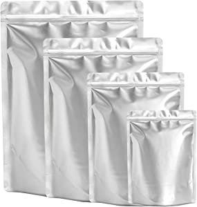 100 Pieces 4 Sizes Mylar Bags Variety Pack, 8 Mil Ziplock Mylar Bags for Food Storage, Stand Up Heat Seal Mylar Bags for Food, Smell Proof Resealable Mylar Bags
