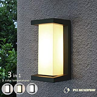 Shinbeam Wall Porch Lights,Outdoor Wall Fixture, IP65 Waterproof Lighting Fixture,3-Speed Dimmable Wall Sconces,Warm White/Cold White/Nature White Color(Gray)