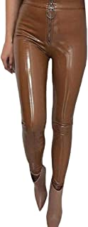desolateness Womens High Waist Slim PU Faux Leather Leggings Long Pants Trousers