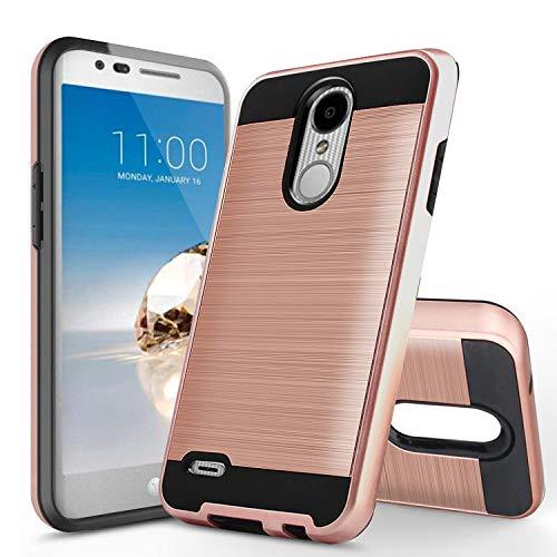 UniSpg Phone Case for LG Rebel 4 LTE (L212VL, L211BL),LG Tribute Empire/Aristo 2/Plus/LG Phoenix 4/Tribute Dynasty/Zone 4/Rebel 3 Case, Shockproof Hybrid Dual Layer Armor Protective Cover [Rose Gold]