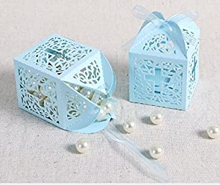 JoinwinNew Design 50 Pack Cross Laser Cut Favor Box Christening Baby Shower Bomboniere with Ribbons Party Favors (Blue)