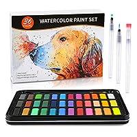 水彩絵の具セット 36色 ディテールペイントブラシ1本 水彩ブラシペン3本 300gの水彩紙8本 子供 大人 絵画 色塗り ギフトに最適 旅行ケース