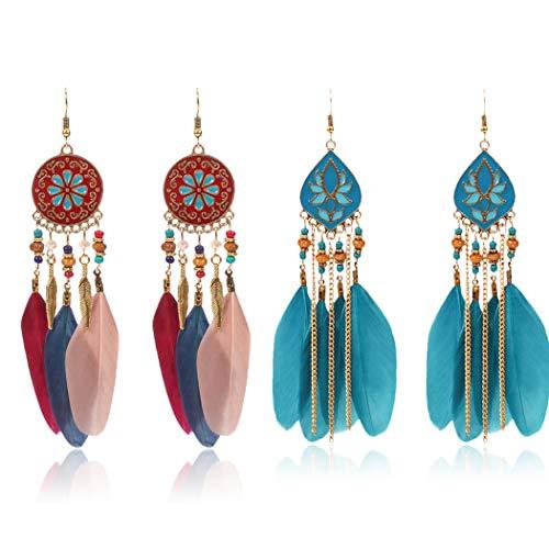 Bohend Pendientes largos de plumas bohemias con diseño de hojas doradas, para viajes, playa, para mujeres y niñas (2 pares)