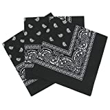 Bandanas paisley negro para hombre y mujer, bufanda por la cabeza unisex venden por 3