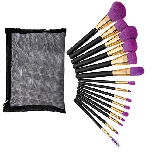 wosume Pinceaux de maquillage, 15Pcs professionnels pinceaux de maquillage de cheveux de fibre ensemble de fard à paupières Fondation Lipbrush Kit de maquillage