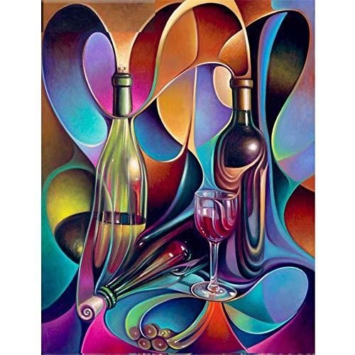Kit de Pintura Diamante 5D Completo Copa de vino 25x30cm Diamond Painting Full Taladro DIY Adultos Bordado Punto de Cruz Arte Craft Home Salón Dormitorio Decor de Pared Q3561