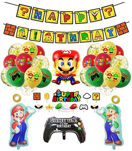 smileh Decorazioni di Compleanno Super Mario Palloncini Striscioni di Buon Compleanno di Mario Bros Decorazioni per Torta per Bambini Decorazione per Feste