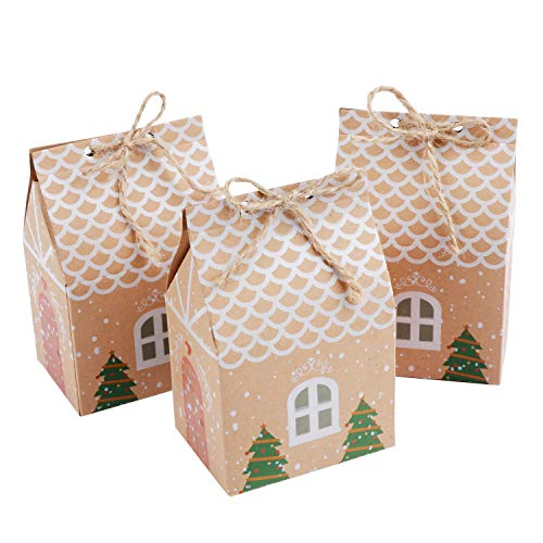HSEAMALL Geschenkbox klein für Weihnachten Party,Geschenkbox Hochzeit, Kraftpapier Süßigkeiten-Box, 50 Stück