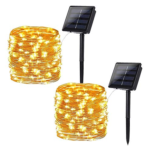 Brizled Solar String Lights Outdoor, 2 Pack 78.74ft 240 LED Solar Fairy Lights Waterproof, Solar Copper Wire Twinkle Lights 8 Modes, Solar Christmas Lights Decorative for Garden Tree Party, Warm White