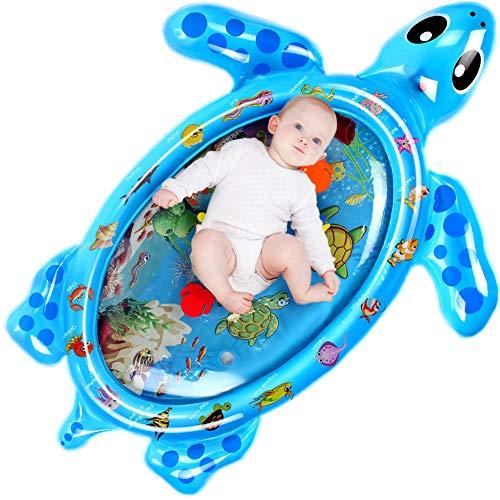 Aufblasbare Schildkröte Wasserspielmatte, Swonuk 120 * 90CM Auslaufsichere Babyspielmatte mit beweglichen Schwimmelementen von Spielzeug, Babyspielzeug für frühe Entwicklung des Säuglings (Blau)