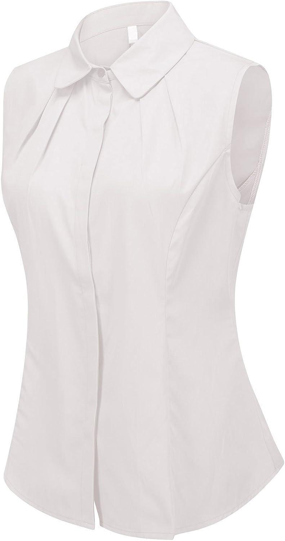 DkaoE Womens Lightweight Cotton Sleeveless Button Up Shirt