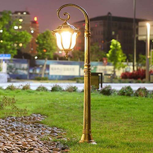 FEE-ZC Retro Europea Luz de Poste a Prueba de Agua Solar LED Luz de Poste de Aluminio Iluminación súper Brillante Lámpara para césped de jardín Farola comunitaria Lámpara