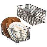 mDesign Juego de 2 canastos de alambre fabricados en metal – Práctica cesta...