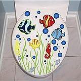 YXWLKG Dekorative GemäldeKarton Blase Ozean Seefisch Vinyl Wandaufkleber Dekorative Aufkleber Bad Wc Dekorationen Wohnkultur Aufkleber Tapete