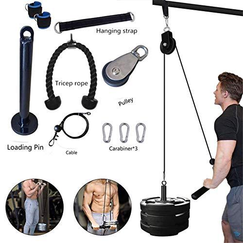 N/b Fitness Polea Sistema de Cable de Carga Pin de Levantamiento de Tríceps Cuerda de Entrenamiento de la Máquina de Longitud Ajustable en Casa Gimnasio Accesorios Deportivos