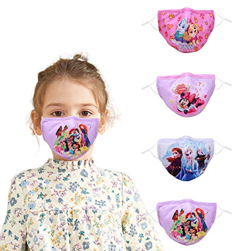 Woplagyreat Kids Girl Face Mask Adjustable Reusable Fabric Cloth Cover, 4 Pack Designer Fashion Protection Cotton Masks with Ear Loops, Gifts for Kids, Washable Mascarilla Headwear for Outdoor