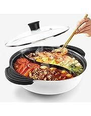 Hot Pot met verdeler voor inductiekookplaat Dubbelzijdig Soep Kookgerei Twee--Flavor Chinese Shabu Shabu Pot voor Thuis Party Familie Verzamelen