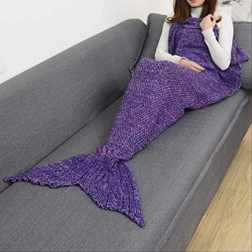 NC56 CAMMITEVER 19 Colors Mermaid Tail Blanket Crochet Mermaid Blanket for Adult Super Soft All Seasons Sleeping Knitted Blankets