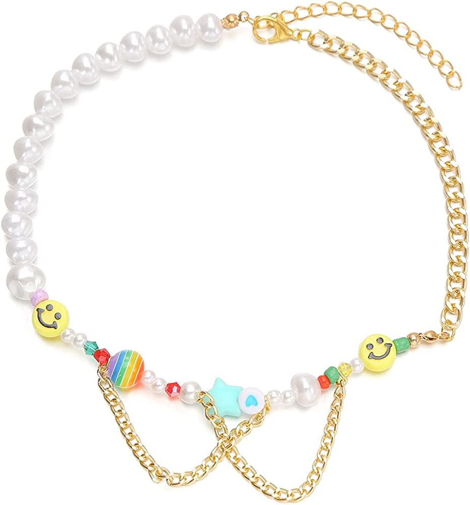 YEYULIN Cute Smiley Face Pearl Beads Necklace Colorful Polymer Clay Beaded Chocker Necklace Handmade Y2k Jewelry for Women Girls