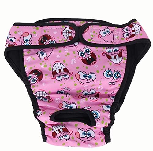Braga para perro talla M, lavable y reutilizable, de color rosa con diseño divertido. Mantiene tu interior limpio. Poner una toallita entre el pañal y el perro.
