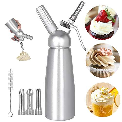 Sifon Cocina Espumas 500ML Dispensadores de Nata Sifón de Aluminio dispensador Profesional de nata Contiene 3 boquillas para de acero inoxidable Hace Crema, Helado y mucho más