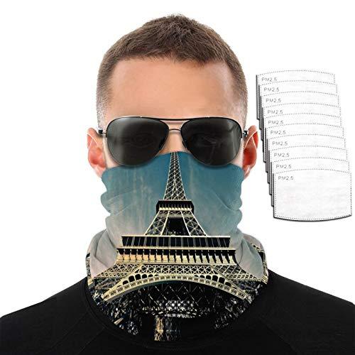 Toalla facial transpirable con diseño de torre Eiffel de ángulo bajo para hombres y mujeres, para deportes al aire libre, resistente al viento