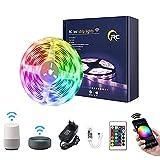 Tira LED 10M,RC WiFi 5050 Luces LED RGB,Compatible con Alexa/Google Assistant,Remoto de 24 Botones & Función Musical,Tiras LED...