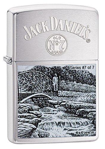 Zippo Zippo Feuerzeug mit Jack Daniel's Etikett, Street Chrome Schwarz / Chrom
