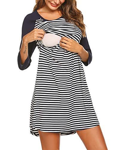 Unibelle Damen Umstandsnachthemd Baumwolle Stillnachthemd 3/4 Ärmel Nachthemden für Schwangere und Stillzeit S-XXL