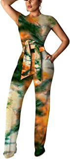Womens Sexy Two Piece Outfits Short Sleeve Rib Belted Crop Top Wide Leg Pants Set Party Jumpsuits
