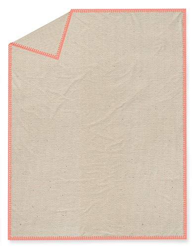 TODAY Couvre-lit Gypset, Coton, 220 x 240 cm, Beige avec Garni Gris, Couleur:Orange