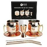Oak & Steel 8 Piezas Set de Regalo Moscow Mule: 2 Tazas Cobre, 2 Posavasos y Más