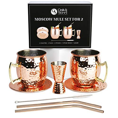 Oak & Steel Tazze in Rame Moscow Mule Set - 2 Tazze (550ml) con Sottobicchieri, 1 Misurino, 2 Cannucce e Spazzola per la Pulizia| Premium Inossidabile - Bicchieri caffè Cocktail | Natale Set Regalo.