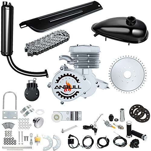 Anbull 80CC Bicycle Engine Kit, Bike Bicycle Motorized 2 Stroke Petrol Gas Motor Engine Kit for 26' 28' Bike (Silver Color)
