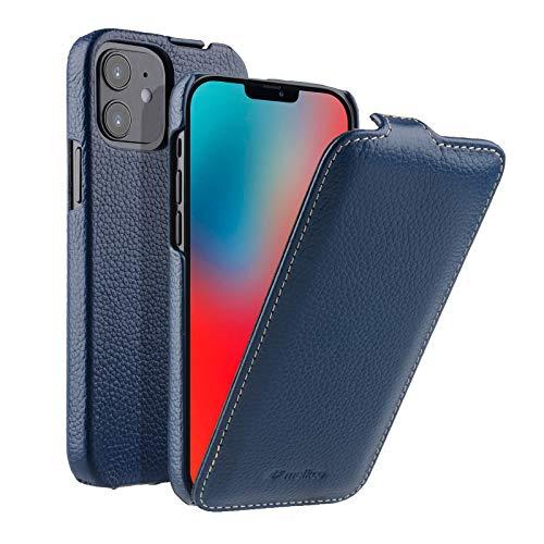 MELCKO Hülle passend für Apple iPhone 12 Mini (5,4 Zoll), Handyhülle mit beschichtetem Leder, Flip-Hülle, Schutzhülle klappbar, dünne Handy-Tasche, Slim Cover, Blau