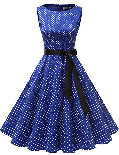 Gardenwed Annata 1950 retrò Rockabilly Polka Vestito da Audery Swing Senza Maniche Abito da Cocktail Partito Royal Blue Small White DOT XS