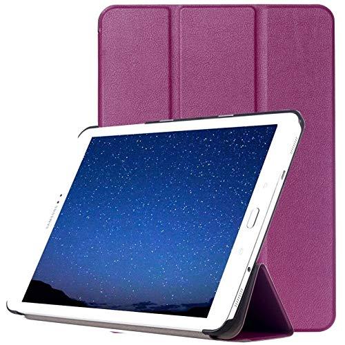 Wdckxy - Funda de piel con tapa para Galaxy Tab S2 de 9,7 y T815 St (3 compartimentos plegables), color morado
