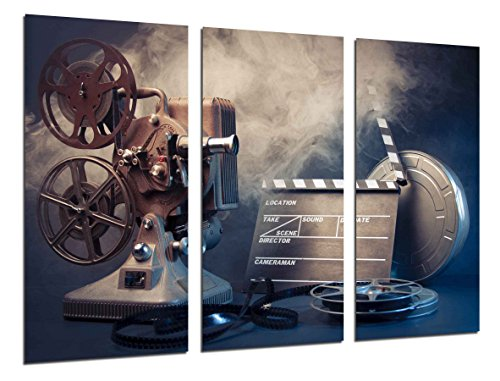 Wandbild - Geschichte Kino Hollywood, Projektor, 97 x 62 cm, Holzdruck - XXL Format - Kunstdruck, ref.26407