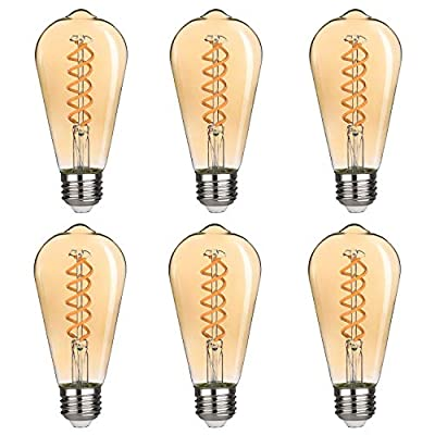 8W Dimmable Vintage LED Edison Bulbs, Neutral White 4000K, Antique LED Filament Light Bulbs, 8W Equivalent to 60W, ST64 (ST21) 800LM E26 Medium Base, Clear Glass (8W-4000K- 6 Pack)