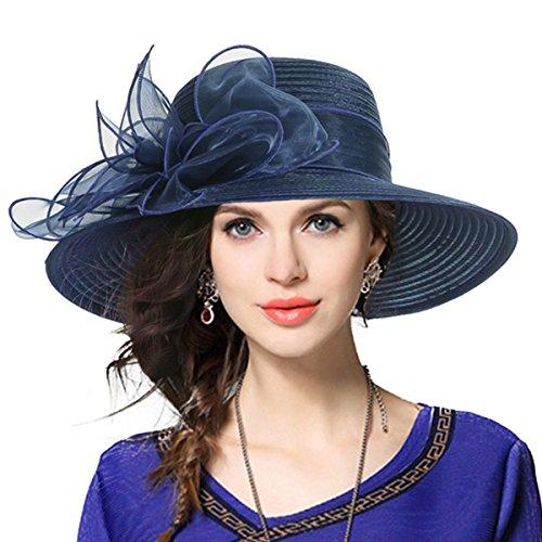Vecry - Sombrero de vestir para mujer, pamela para iglesias, bodas, carreras de caballos - Azul marino - M