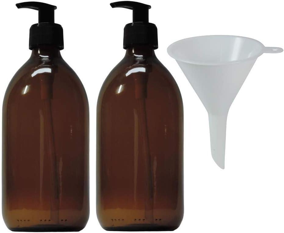 mikken 2 dispensadores de jabón de 500 ml, dispensador de loción de Cristal marrón, sin BPA, Apto para Alimentos, Incluye 1 Embudo, Color marrón