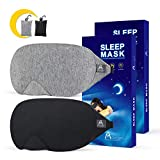 Mavogel Cotton Sleep Eye Mask - Updated Design Light Blocking Sleep Mask, Soft and Comfortable Eye Blindfold for Men Women, Eye Mask for Sleeping/Travel/Shift Work, Includes Travel Pouch, Grey & Black
