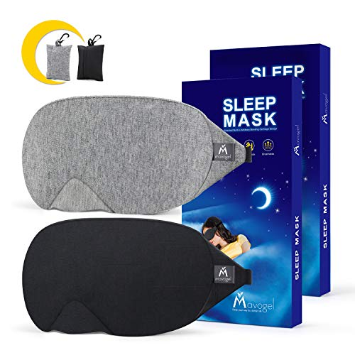 Mavogel antifaz para dormir – Máscara de bloqueo de luz para dormir, suave y cómoda antifaz para dormir para hombres y mujeres, incluye bolsa de viaje, gris y negro